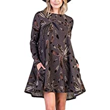 AlvaQ Women Long Sleeve Feather Print Tunic Shirt Dress With Pockets (5 Colors, S-XXL)