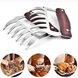 Metal Meat Claws 2Pcs Stainless Steel with Durable Wooden Handle Bear Claws Meat Shredder Meat Hander for Lifting, Handling, Shredding, Pulling Barbecue Tool.