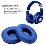 AGPTEK 2 Pieces Foam Ear Pad Cushion Compatible with Beats Solo 2 Wireless Headphone - Blue