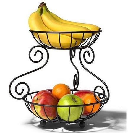 Spectrum Scroll 2-Tier fruit Server, Black by Spectrum Diversified Design