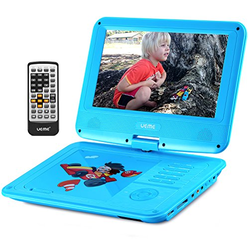 UEME 9″ Portable DVD Player with Car Headrest Mount Holder | Swivel Screen | Remote Control | Rechargeable Battery | SD Card Slot and USB Port, Personal DVD Player PD-0093 (Blue)