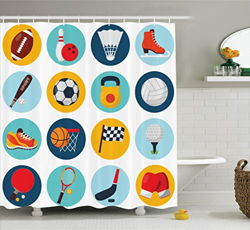 Ambesonne Sports Decor Collection, Sport Icons with Soccer Golf Table Tennis Balls Gloves Skate Shoes Sporty Image, Polyester Fabric Bathroom Shower Curtain Set with Hooks, Teal Blue Orange Red by Ambesonne