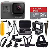 GoPro HERO5 Black Sports Action Video Camera - Waterproof to 33, + SanDisk Ultra 32GB Card + Hard Case + Monopod + Flexible Tripod + Chest & Head Strap + Spike Mount + Jaw Clamp – Accessory Bundles