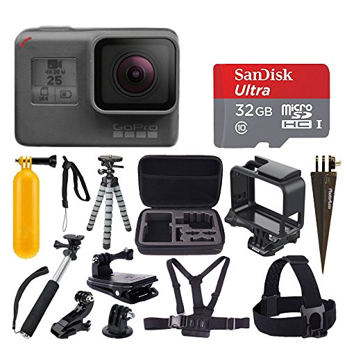 GoPro HERO5 Black Sports Action Video Camera - Waterproof to 33', SanDisk Ultra 32GB Card + Hard Case + Monopod + Flexible Tripod + Chest & Head Strap + Spike Mount + Jaw Clamp - Accessory Bundles