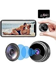 Mini cámaras espía ocultas (con tarjeta SD de 64G), 1080P HD pequeña cámara de niñera inalámbrica portátil, cámara de vigilancia de seguridad para el hogar con visión nocturna y detección de movimiento, grabadora de vídeo para exteriores/interiores