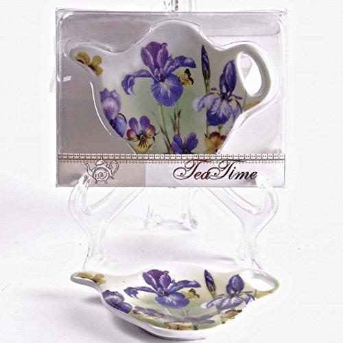Jcook Home Decor Porcelain Tea Bag Holders in Gift Box - Irises - Set of 2