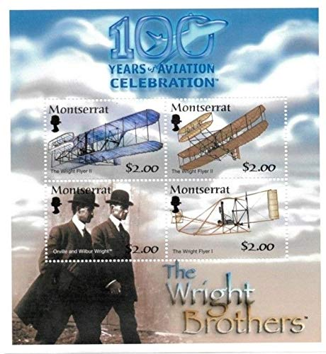 Aviation - Wright Brothers - History of Flight 100th Anniversary - Limited Edition Collectors Stamps - Montserrat
