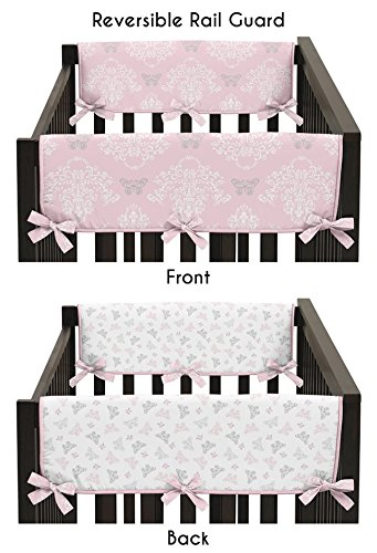 (Sweet Jojo Designs Baby Crib Side Rail Guard Covers for Pink, Gray and White Shabby Chic Alexa Damask Butterfly Bedding Collection)