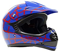 Youth Offroad Gear Combo Helmet Gloves Goggles DOT Motocross ATV Dirt Bike Motorcycle Blue Spiderman - Medium by Typhoon Helmets