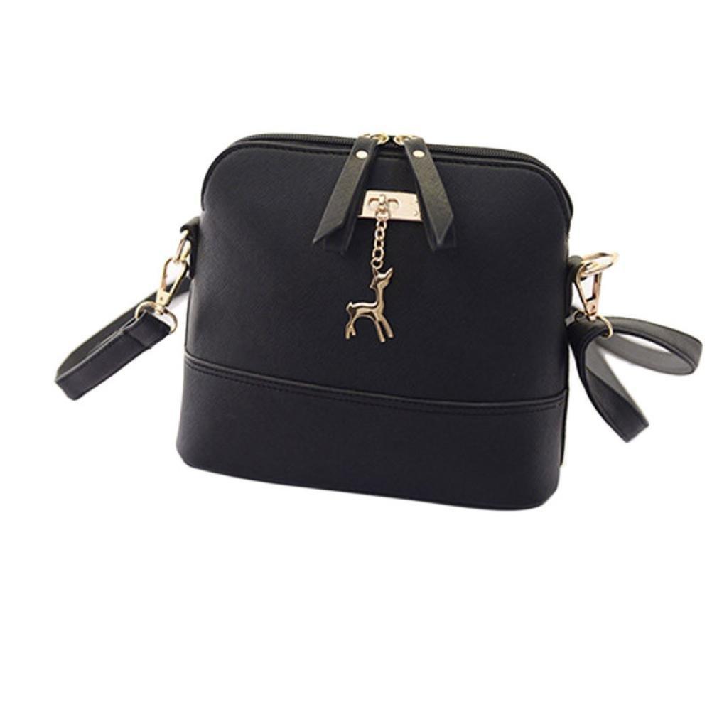 Start Women's Single Shoulder Bags Zipper Sling bag Shell Leather Handbag Casual School Student Messenger (Black)