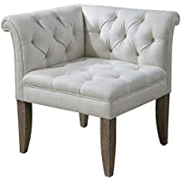 Uttermost 23125 Tahtesa Corner Chair, Ivory