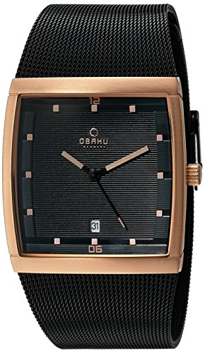 Obaku Men's Quartz Stainless Steel Dress Watch, Color:Black (Model: V102GDVBMB)