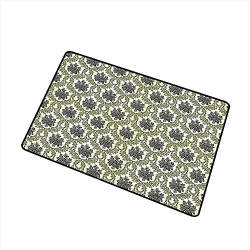 (Jbgzzm Fashion Door mat Damask Decor Collection Vintage Floral Damask Brocade with Abstract Bouquet Greenery Pattern Artwork Print W30 xL39 Non-Slip Door mat pad Machine can be Washed Green Beige)