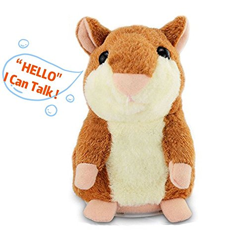 IMISO Talking Hamster Repeats What You Say Electronic Pet Talking Plush Buddy Mouse for Child Kids Party Toys (1 Pieces Brown) New Pet Hamster