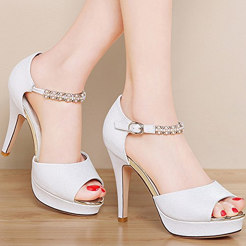 High 9Cm With Summer Fish Fine HGTYU Mouth Match Shoes All White Female Heeled Sandals Shoes A Waterproof In 5E5gqw