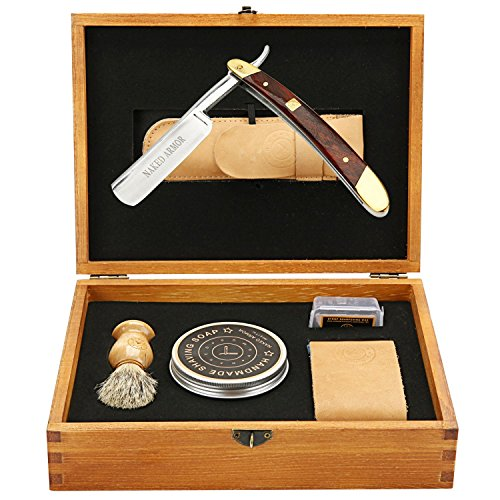 Amazing STRAIGHT RAZOR SHAVING KIT ~ Quality Shave at Home ~ Samurai Strong SHARP Edge Japanese Steel Blade + Leather Strop, Sleeve, Soap, Badger Friendly Brush Set, Balanced Wood Handle, Dad Gift Box by Naked Armor