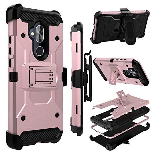 Alcatel 7 Case, Alcatel 7 Folio Case, Zenic Heavy Duty Shockproof Hybrid Full-Body Protection Case Cover with Swivel Belt Clip and Kickstand for Alcatel Revvl 2 Plus(Pink)
