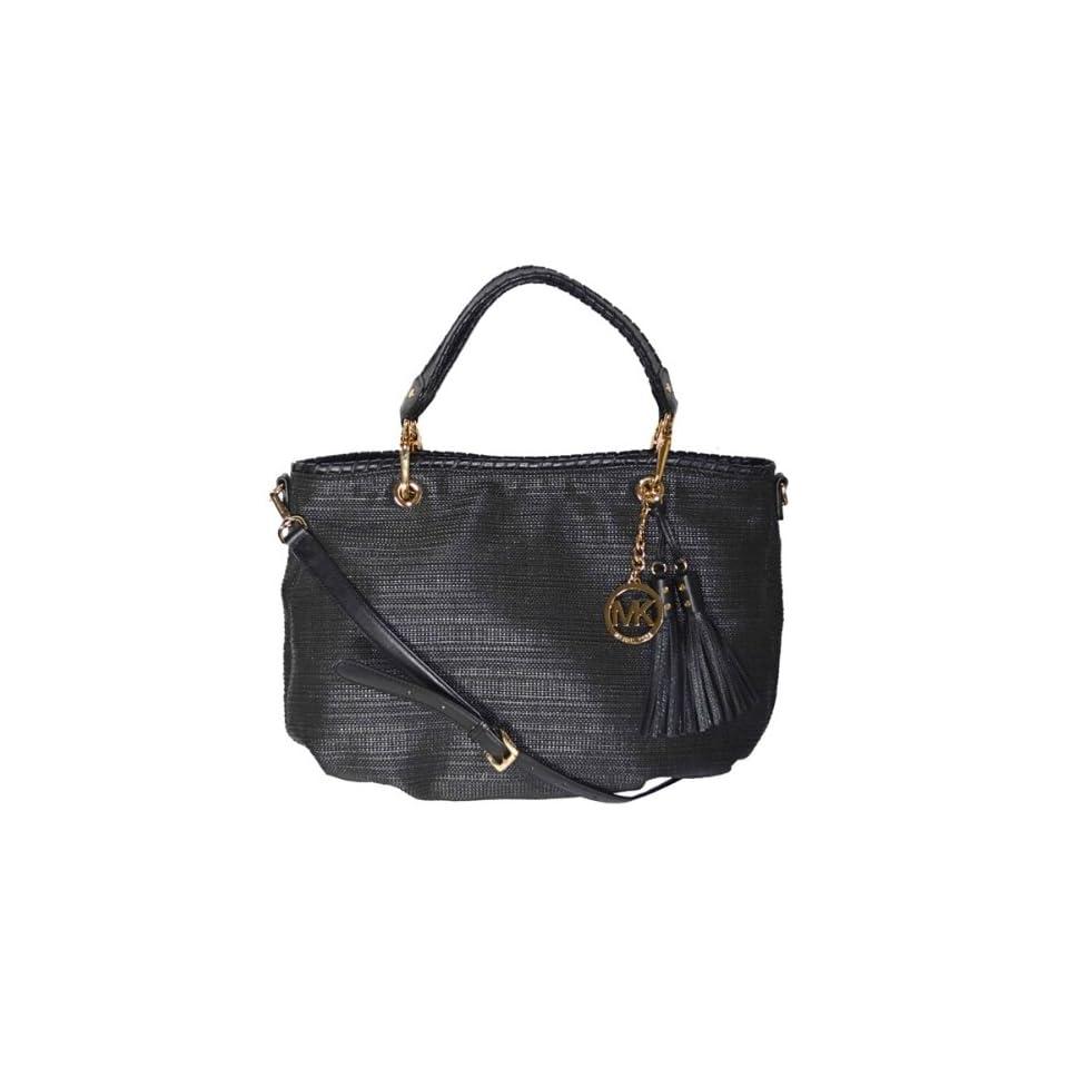 Michael Kors Black Soft Straw Bennet Large Tote Shoulder Bag Handbag Purse