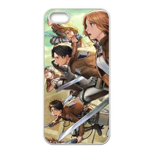Attack On Titan coque iPhone 5 5S Housse Blanc téléphone portable couverture de cas coque EBDOBCKCO14013