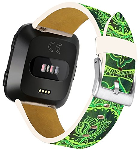Leather Strap for Fitbit Versa Pattern - ENDIY Small/Large Compatible Designer Replacement Band Fashionable Women for Fitbit Versa Green Floral ()