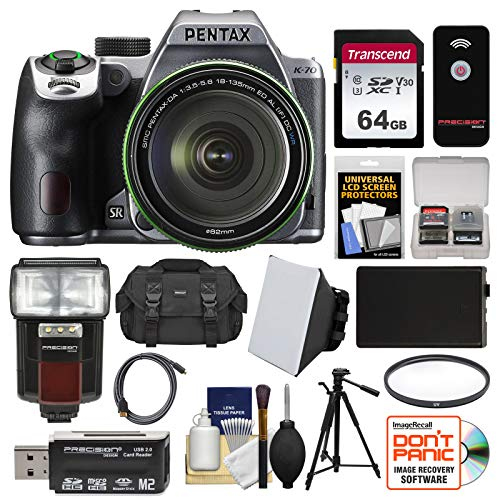 Pentax K-70 All Weather Wi-Fi Digital SLR Camera & 18-135mm WR Lens (Silver) with 64GB Card + Case + Flash + Battery + Tripod + Filter + Kit
