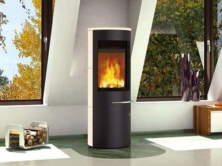Olsberg Tacora Compact - Estufa de leña (6 kW, acero), color negro y madera de arce