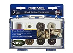 Dremel Model EZ684-01- This sanding and polishing kit is designed to help polish a variety of materials to a high luster, clean those hard to reach areas, remove rust and a whole lot more. This kit includes seven assorted sanding and polishin...