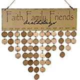 Omkuwl Faith Family Friends Words Hanging DIY Wooden Calendar Kalendar Reminder Board Plaque Home Decor Pendant Colorful