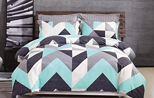 Minimal Style Geometric Shapes Duvet Quilt Cover Scandinavian Midcentury Modern Geo Print 100-percent Cotton Bedding Set Soft Casual Simplistic Triangle Stripes Chevron Pattern (King, Turquoise)
