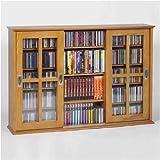 LDE LESLIE DAME Leslie Dame MS-525 Wall Mounted Sliding Door Mission Style Media Storage Cabinet, Oak