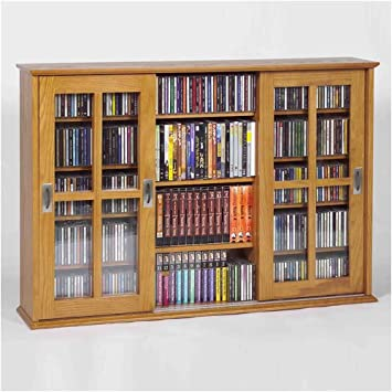 Leslie Dame MS-525 Wall Mounted Sliding Door Mission Style Media Storage Cabinet Oak & Amazon.com: Leslie Dame MS-525 Wall Mounted Sliding Door Mission ...