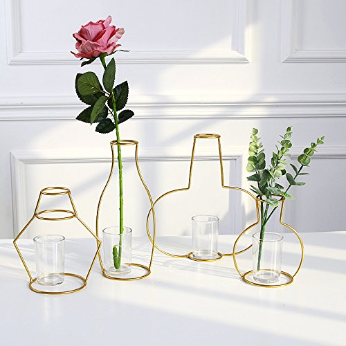 Minimalist Metal Vase, Golden Line Abstract Geometric Frame 2D Drawing Cartoon Comic Display Rack Centerpieces Decor for Faux Real Flower Succulent - C - Stand Cylinder Vessel