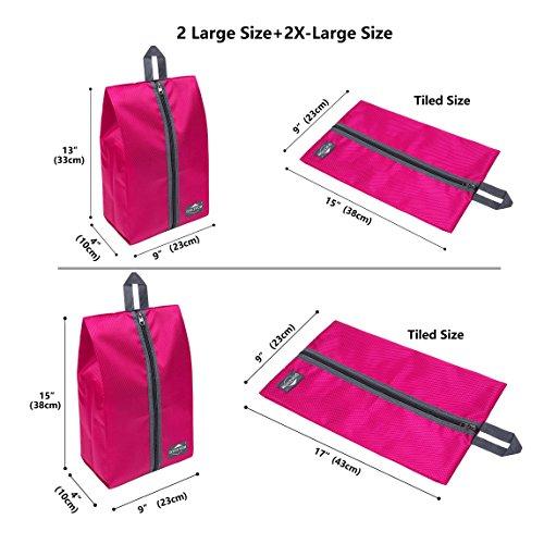DOKEHOM DKA3030DPG1 Portable Nylon Travel Shoe Storage Organizer Bag (8 Colors) with Zipper Closure (Pack 4, Dark Pink) by DOKEHOM (Image #2)