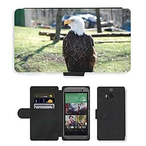 GoGoMobile Flip PU Leather Wallet Case with Credit Card Slots // M00118867 Bald Eagles Raptor Bald Eagle Animal // HTC One M8