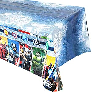 "1 pack Avengers Themed Birthday Party Decorations – Disposable Avengers Plastic Tablecloth | 71.25 x51.96 "", Disposable Table Cover Avengers Party Supplies for Kids"