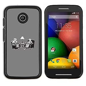 LECELL--Funda protectora / Cubierta / Piel For Motorola Moto E -- Vintage Tea Party Banksy Retro --