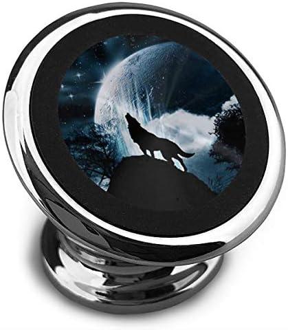 月にHowえるオオカミ 携帯電話ホルダー おしゃれ 車載ホルダー 人気 磁気ホルダー 大きな吸引力 サポートフレーム 落下防止 360度回転