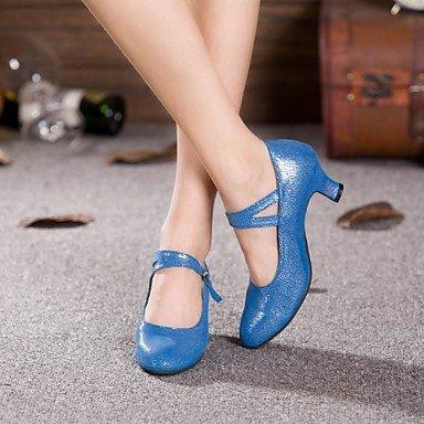 XIAMUO Anpassbare Damen Tanz Schuhe Moderne funkelnden Glitter angepasste Ferse Outdoor Schwarz/Blau, Schwarz, US 6,5-7/EU 37/ UK 4,5-5/CN 37