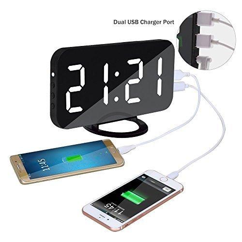 Dual Alarm Clock Digital with 6.5' Large Mirror Surface,Top Vigor Loud...