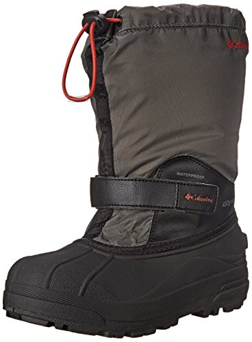 Columbia Youth Powderbug Forty Winter Boot (Little Kid/Big Kid), Black/Sail Red, 5 M US Big (Columbia Powderbug Winter Boot)