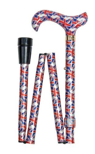 Classic Canes Fashionable Height Adjustable Folding Walking Stick - Union Flag (British Cane)