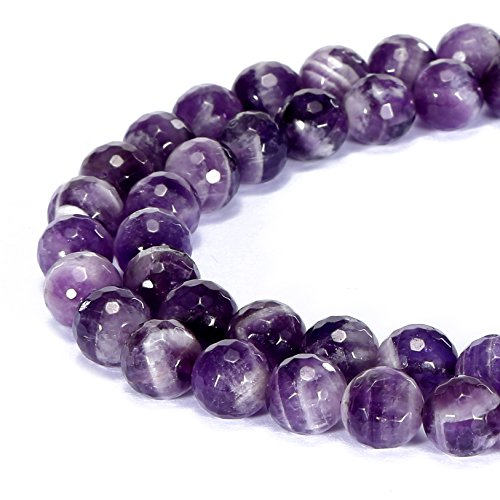 BRCbeads Gorgeous Natural Teeth Amethyst Gemstone Faceted Round Loose Beads 6mm Approxi 15.5 inch 58pcs 1 Strand per Bag for Jewelry Making