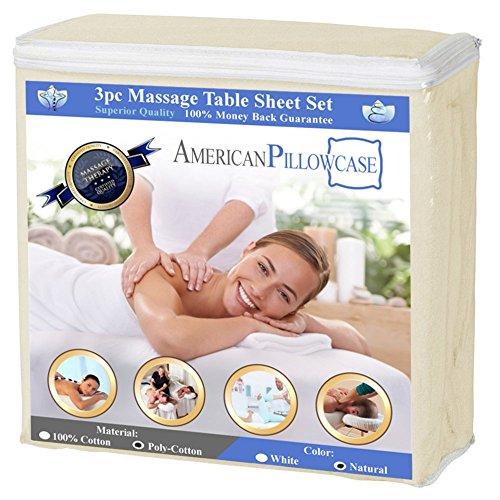 Premium American Pillowcase Massage Table Sheets - 3-piece Luxury Spa Quality Linens Sheet Set (Color: Natural)