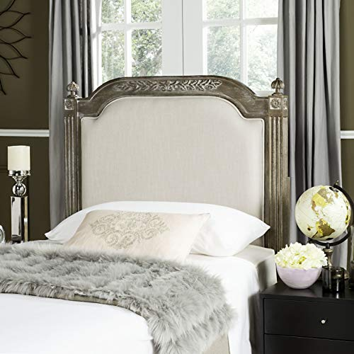 French Style Headboards - Safavieh Home Collection Tufted Linen Rustic Oak Wood and Beige Headboard (Twin)