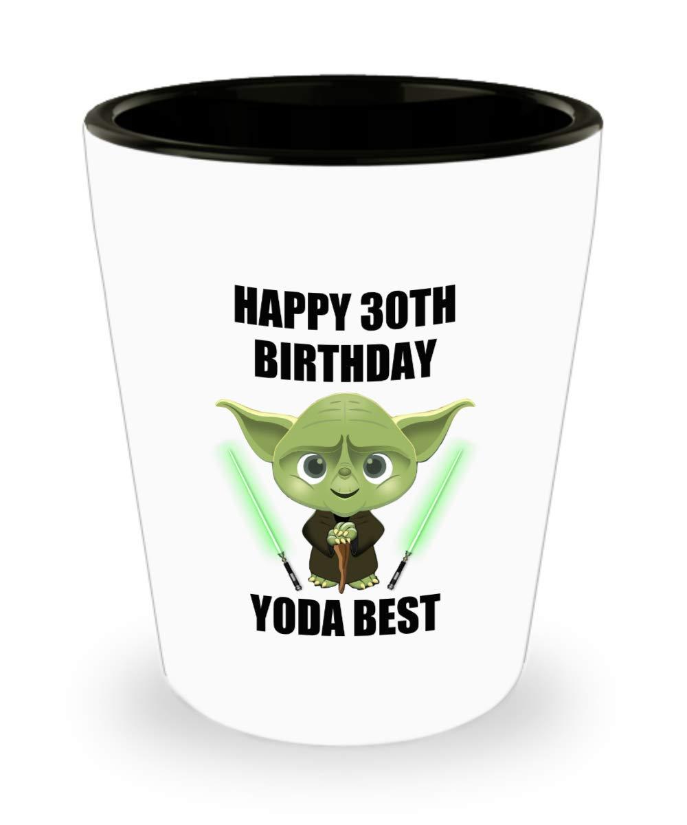 30th Birthday Gifts For Husband Wife Boyfriend Girlfriend Friend Son Daughter Men Women Her Him Star Wars Yoda Best Jedi Shot Glass