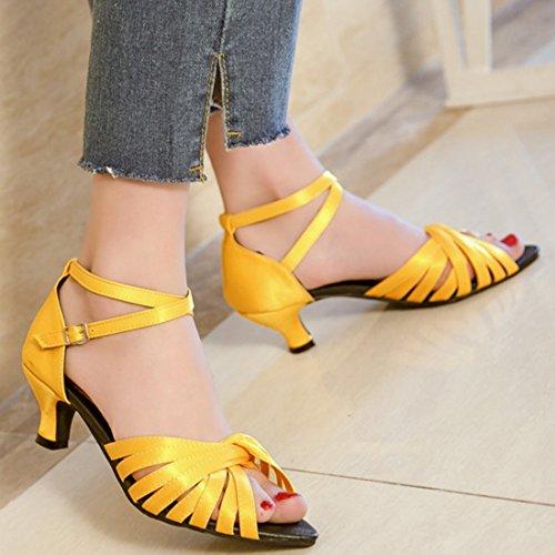 Jaune Corset De Salon Sangle Mariage Femmes Confortable Talons Mi Sandales Ye Danse Chaussures AR47qcZA