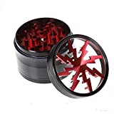 Metrical Poetry Tobacco Spice Herb Grinder, 2.5 Inch 4 Piece Multi-function Herbal Weed Pollen Plant Chromium Crusher (Red)