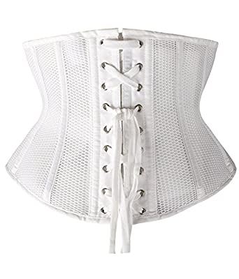 Camellias Women Petite Steel Boned Waist Trainer Corset Short Torso Mesh Body Shaper