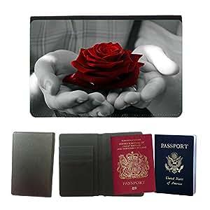 Passeport Voyage Couverture Protector // M00154054 Flores La flor planta Rose Naturaleza // Universal passport leather cover