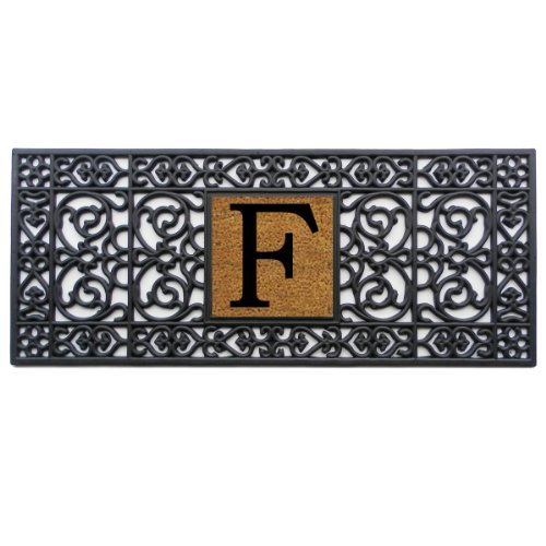 Home & More 170011741F Doormat, 17'' x 41'' x 0.60'', Monogrammed Letter F, Black